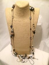 Womens Statement Long STONE Multi Coloured Beaded Chain Necklace Big LARGE