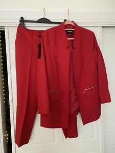 JD Williams Red Tailored Trouser Suit Blazer Trousers Size 14