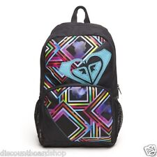 Roxy CLEAR SIGHT Black Multi Colored Mesh Side Pockets Daypack Discount Backpack