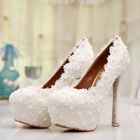 Womens White Wedding Dress Bridal High Heel Lace Ladies Bride Pearls Party Shoes