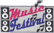 """""""MUSIC FESTIVAL"""" PATCH-Iron On  Embroidered Patch/Rock N'Roll, Jazz, Band"""
