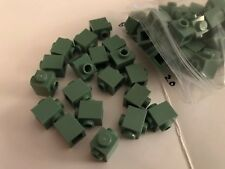 50 Lego 1 x 1 Bricks w/two studs on sides (47905) Sand Green - Hard To Find!