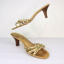 Coldwater Creek Beige Fabric Floral Heeled Sandals Size 8.5 Womens Slip On Shoes