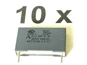 10 x 47nF,  440V~, 1000V-, 10%,110°, RM22,5, 0,047uF, R474N247050A1K, 10 Stück