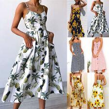 Fashion Women Floral Bohemian Strap Button Down Swing Midi Dress With Pockets