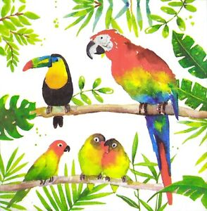 3 x Single Paper Napkins For Decoupage Craft Jungle Parrot Tucan Birds N389