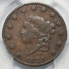 1821 N-1 PCGS XF 40 CAC Close Date Matron or Coronet Head Large Cent Coin 1c