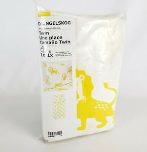 IKEA Djungelskog Twin Duvet Cover and Pillowcase Lion Yellow White New