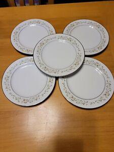 Sango China Debutante 3688 5 Bread & Butter Plates Platinum Trim Floral Scrolls