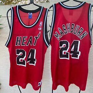 VTG 90's CHAMPION NBA MIAMI HEAT JAMAL MASHBURN #24 RED BLACK JERSEY SZ 48