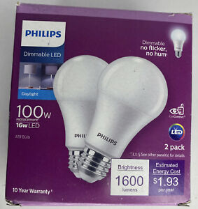 PHILIPS Dimmable LED 16W A19 Bulb 1600 Lumens 5000K Daylight 2 Pack