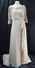 alfred angelo wedding dress gown chiffon illusion mesh bead train Size 12 L NEW