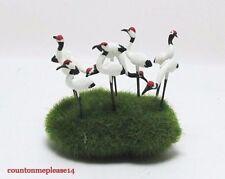 Lot of Miniature Crane Birds Multi Color White Clay Handmade Decorative 1:12