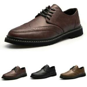 Brogue Mens Business Leisure Shoes Work Office Oxfords Round Toe Wing Tip Chic L
