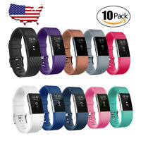 10 Pack For Fitbit Charge 2 Band Wristband Strap Silicone Fitness Small / Large