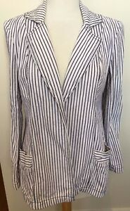 SASS & BIDE Natural Blue Striped 'DREAMSHAKY' Tailored Open Front Blazer 38 8-10