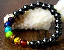 UK Ladies Men 7 Chakra Yoga Reiki Gemstone Hematite Power Stone Bracelet Jewelry