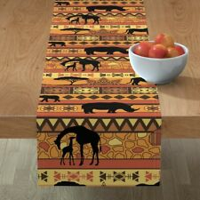 Table Runner African Safari Earth Tone Animals Rhino Elephant Cotton Sateen