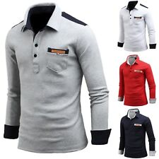 New Mens Dandy Patch Pocket Long Sleeve Cotton T-Shirts Collar Polo Tops W04 S-L