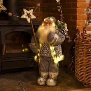 Christmas Santa Decoration 60cm Ornament Xmas Standing Grey Figure LED Large