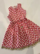 5 Yr 110 Room Seven Adorable Red White Chevron Striped Organza Dress