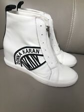 BNIB DKNY White  Leather WEDGE TRAINER Boots Rrp £169.99