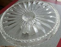 "Vintage Crystal Pressed Glass Pedestal12.5"" Cake Tray Stand Plate"