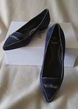 Christian Dior CD Logo Bow Pointy toe Ballerina Ballet Flats 39 9 Suede Blue