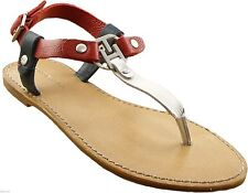 NEW & AUTHENTIC Tommy Hilfiger JULIA 2 Sandals RED %100 LEATHER SHOES 9 USA