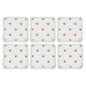 Wrendale Designs Coasters Bee Cork Backed Square Set of 6 Pimpernel 11 x 11cm