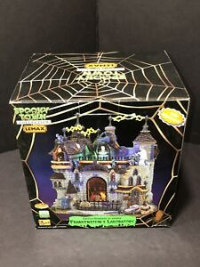 Lemax FRANKENSTEIN'S LABORATORY  Retired Working W/ Box Spooky Town Awesome!!