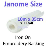 EMBROIDERY BACKING STABILISER 10m x 35cm IRON ON compatible with Janome hoops