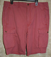 NEW Lee Cargo short pants 6 pocket zip front Button Pockets Red 38W Cotton
