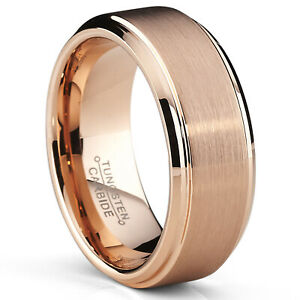 8mm Rose Plated Tungsten Carbide Wedding Band Ring Men's Band