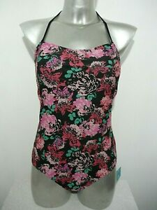 BNWT Ladies Black Floral Removable Padded Cup Tummy Control Bandeau Swimsuit 12