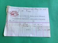 South Blend Iron Works Chilled Trade Mark Ohio U.S 1878 receipt R37301