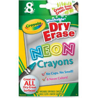 Crayola 8-Count Washable Dry-Erase Crayons, Neon. 2 Pack