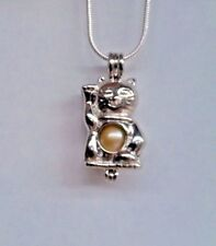 Make a Wish Pearl Cage Pendant Necklace - Lucky Cat - 925 Chain+Pearl Included