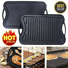 Reversible Cast Iron Grill Griddle Pan Hamburger Steak Stove Top Fry 17