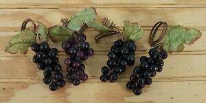 Four Napkin Rings Natural Grapevine w Plastic Grapes Napkin Holders Table Decor