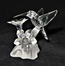 "Swarovski Crystal Figurine Hummingbird & Flower Feather Beauty 2 3/8"" 7615000001"