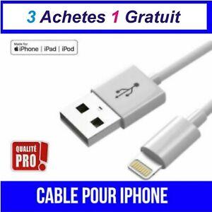 CABLE POUR IPHONE X 8 7 6 5 S SE PLUS IPOD IPAD CHARGEUR USB RENFORCÉ BLANC 1M