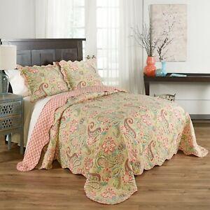 Queen Size 100% Cotton Paisley Reversible 3 Pc Cottage Quilt Set Machine Wash