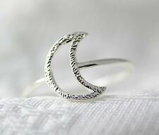 Simple Crescent Moon Ring Silver Plated Jewelry gift idea 7.5 size Funny Unique