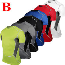 Mens Compression Under Base Layer Top Short Sleeve T-Shirts Sports Gym Shirt Tee