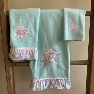 Embroidered Cotton Velour Bath Towel Set 3Pcs Pale Aqua Applique Floral