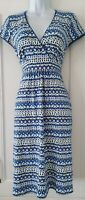 Womens Boden Blue White Floral Ditsy Stretch Jersey Crossover Tea Dress 8 New.