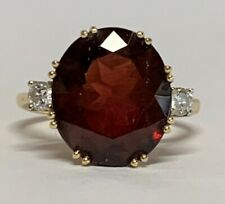 Estate Jewelry Oval Garnet & Diamond Ring 14K Yellow Gold Size 7.25