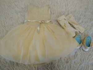 American Girl Doll Gala Party Outfit Tulle Dress Gloves Shoes Gold Cream White