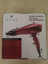 Hair Dryer Wazor 1875W Ceramic Ionic Blow Dryer Infrared Dryer Shot Button, Red